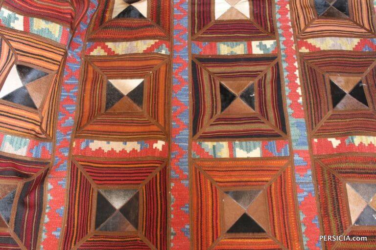 234×192. Персидский килим-пэчворк с квадратными вставками