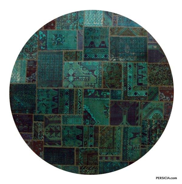 300×300. Круглый ковер-пэчворк изумрудно-зеленого цвета. Иран