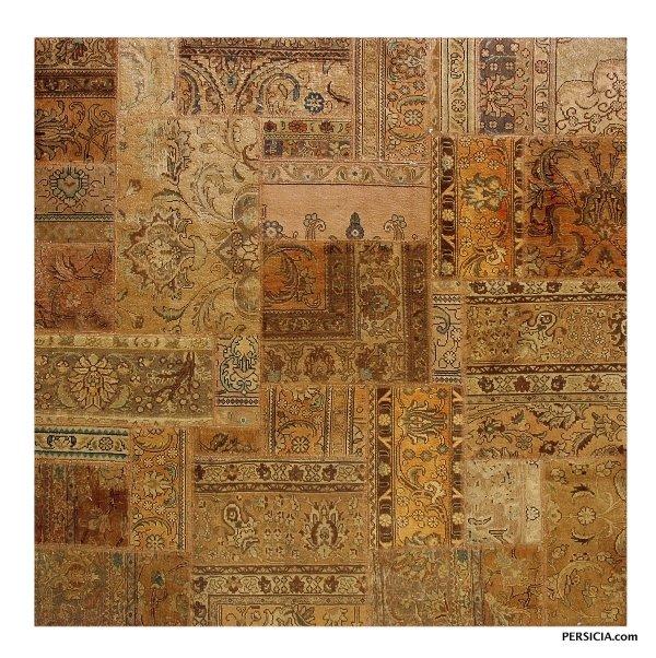 199×199. Квадратный бежевый персидский ковер-пэчворк