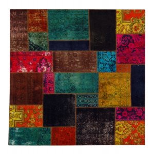 182×181 Яркий квадратный лоскутный ковер