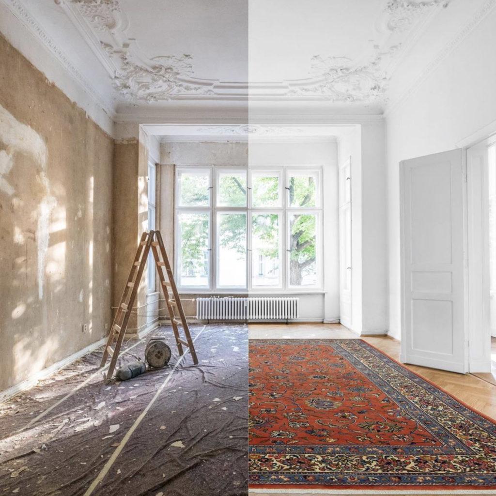 Интерьер с ковром и без