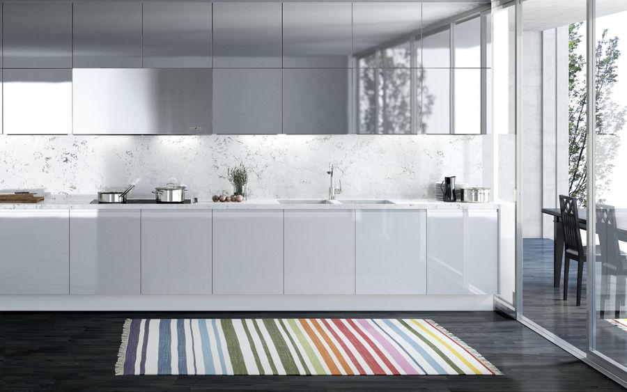 Белый современный ковер в разноцветную полоску для детской или гостиной