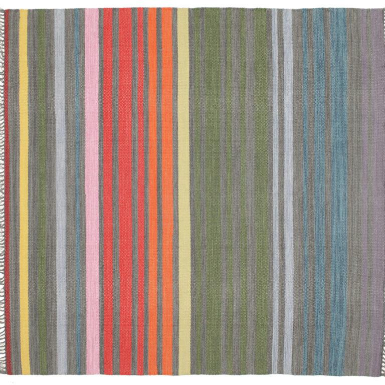 200×200. Квадратный ковер в разноцветную полоску. Хлопок