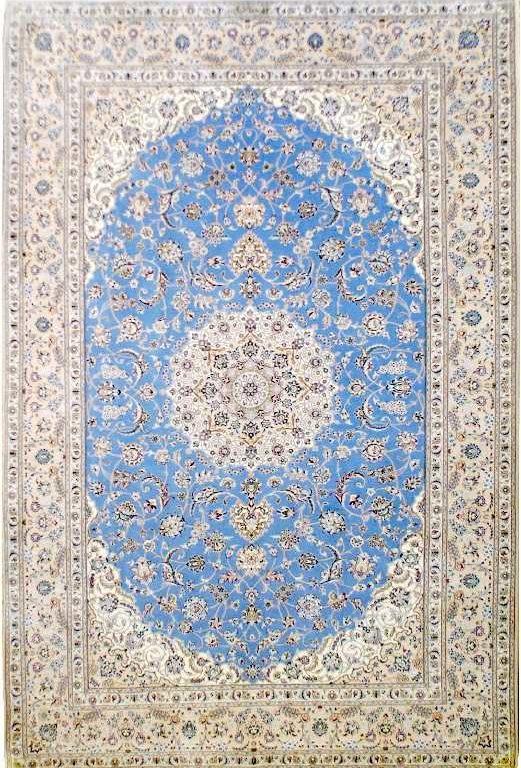 312×206. Элитный персидский ковер Наин 4 Ла, нежно-голубого цвета