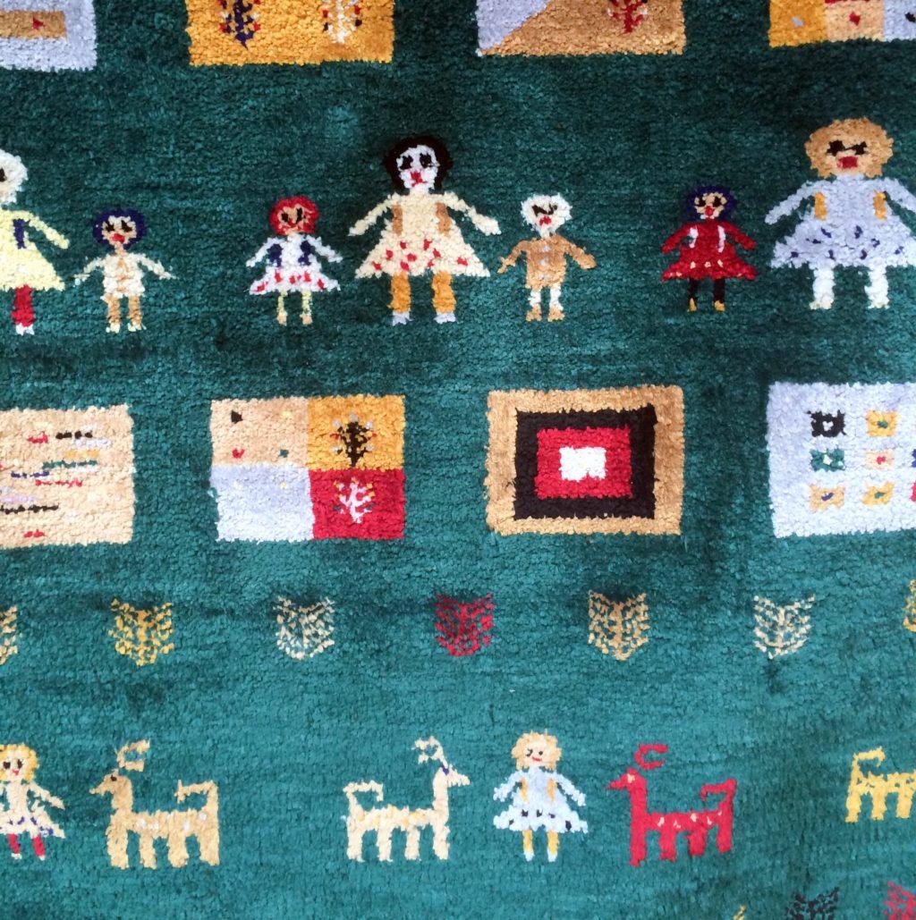 Изумрудный шелковый ковер ручной работы. Купить в Москве